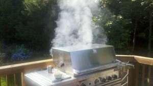 smoking gas grill